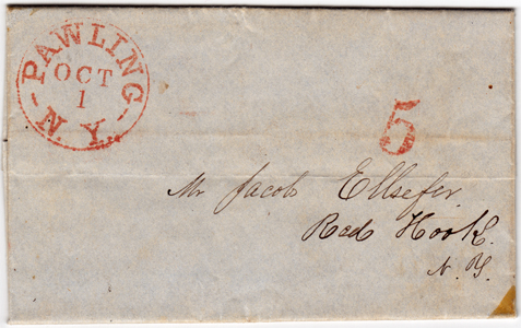 Pawling NY Folded Letter Sheet 1851 5 Cents